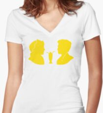 Milkshake Silhouette (J+A | Yellow) Women's Fitted V-Neck T-Shirt
