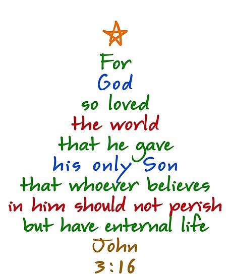 For God So Loved The World Bible Verse Christmas Tree Posters By