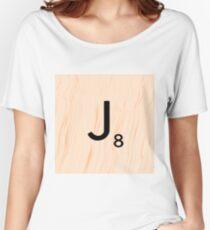 Scrabble Letter J - Full Alphabet Scrabble Tile Art Women's Relaxed Fit T-Shirt