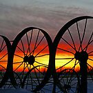 Wagon Wheel Sunset by Jerry Walter
