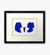 Milkshake Silhouette (V+B   Blue) Framed Print