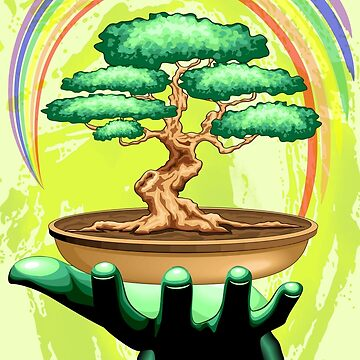 Bonsai Tree and Rainbow on Green Hand - Protecting Nature  by BluedarkArt