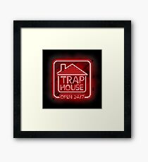 Welcome to the Trap House - red neon 247 - all day / all night Framed Print