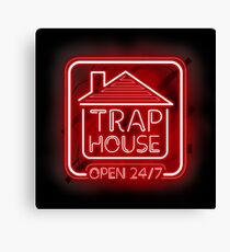 Welcome to the Trap House - red neon 247 - all day / all night Canvas Print
