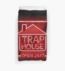 Welcome to the Trap House - red neon 247 - all day / all night Duvet Cover