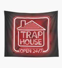 Welcome to the Trap House - red neon 247 - all day / all night Wall Tapestry