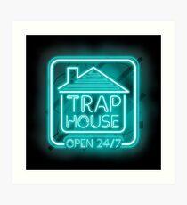 Lámina artística Bienvenido a Trap House - Light blue neon 247 - todo el día / toda la noche