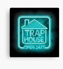 Welcome to the Trap House - Light blue neon 247 - all day / all night Canvas Print