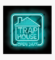 Welcome to the Trap House - Light blue neon 247 - all day / all night Photographic Print