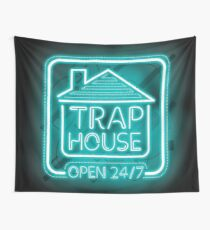 Welcome to the Trap House - Light blue neon 247 - all day / all night Wall Tapestry