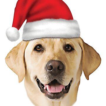 Santa Hat Yellow Lab Portrait Labrador Christmas Holiday by TrendyTees12