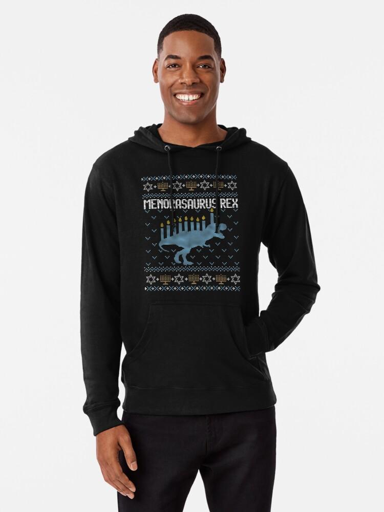 041e14b4d Ugly Hanukkah Sweater, Trex, Jewish Dinosaur shirt Lightweight Hoodie