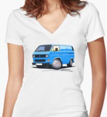 VW T25 Transporter Van Blue Women's Fitted V-Neck T-Shirt