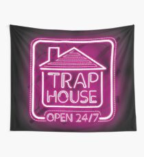 Welcome to the Trap House - Pink neon 247 - all day / all night Wall Tapestry