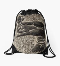 Buddha hand with a lotus art photo print Drawstring Bag