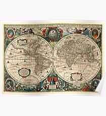 Hendrik Hondius, Nova Totius Terrarum orbis Geographica ac Hydrographica Tabula 1641 Poster