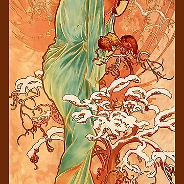 Alphonse Mucha, Winter, 1896, ART NOUVEAU POSTER, by TOMSREDBUBBLE