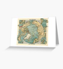 Antique Maps - Old Cartographic Maps - Antique Map Of North Pole And Arctic Ocean In German Greeting Card