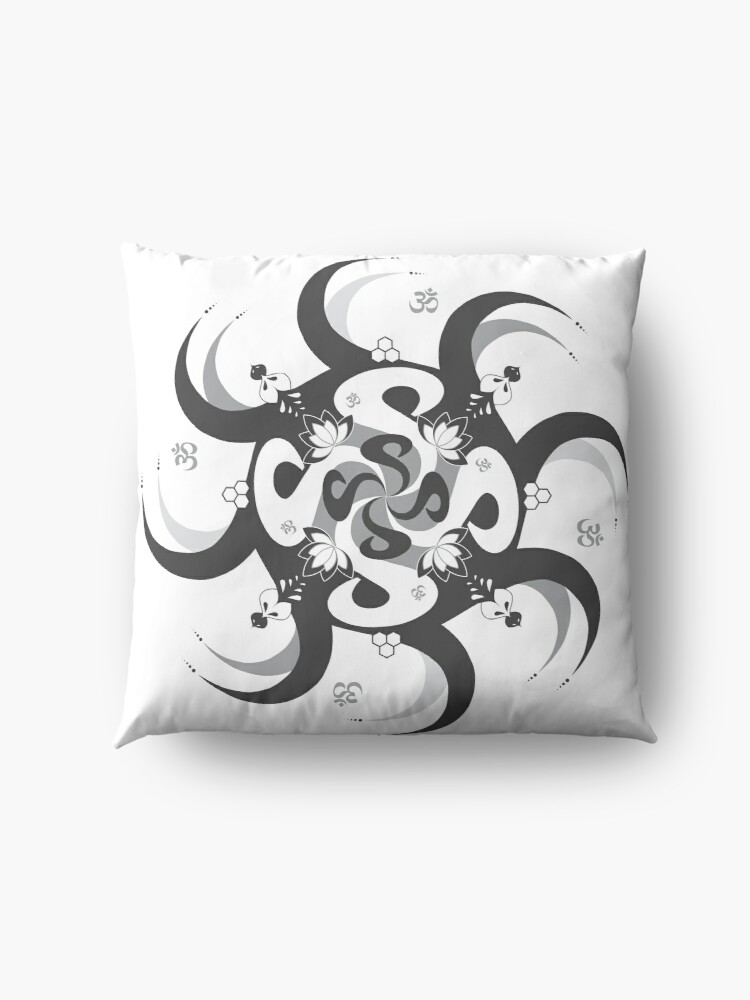 Alternate view of Shee Mandala Spiral with Om and Lotus Symbol Floor Pillow