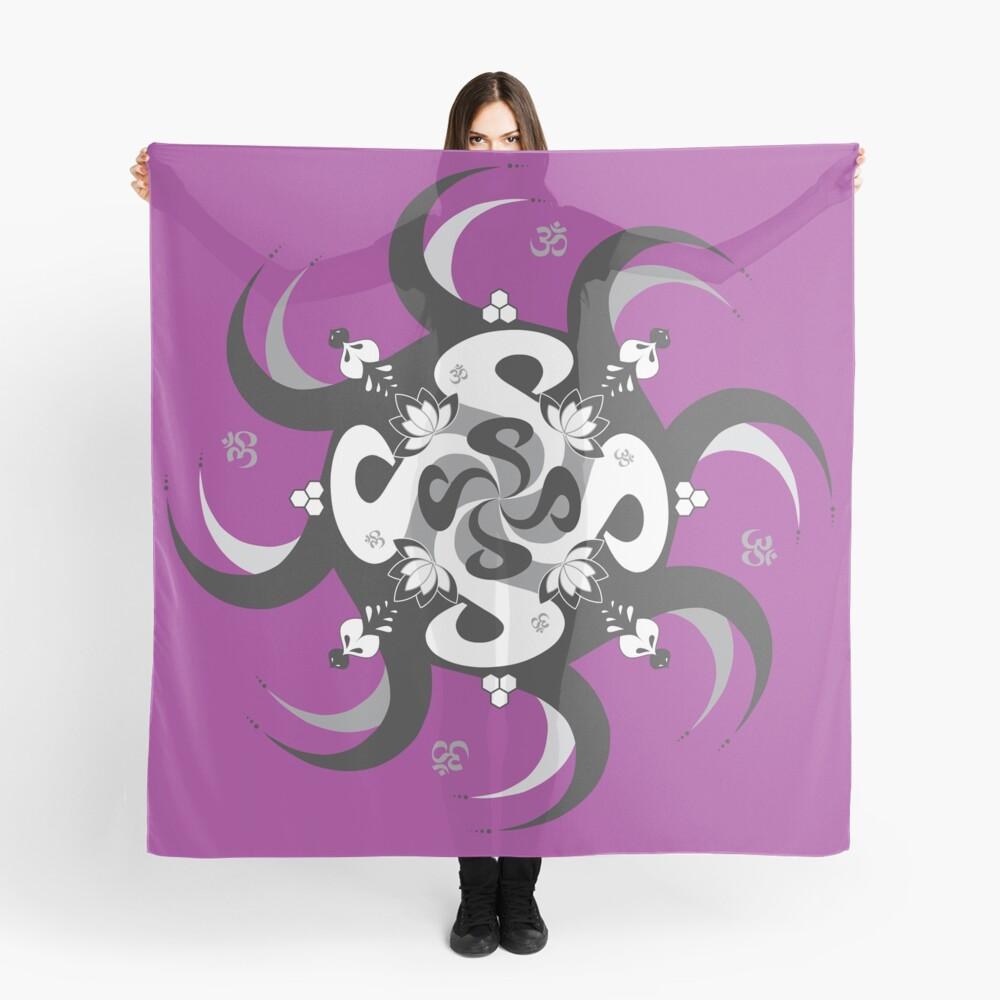 Shee Mandala Spiral with Om and Lotus Symbol Scarf