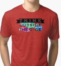 Think Outside the Cage - Colorful Tri-blend T-Shirt