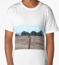 Red Tailed Hawk On Fence Post Long T-Shirt