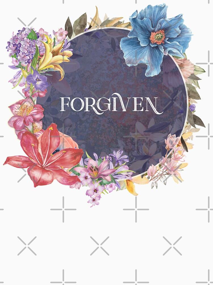 Forgiven - Christian Quotes - Cute Inspirational Floral Circle Design |  Long T-Shirt