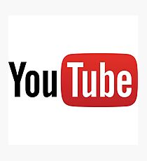 YouTube Full Logo - Red on White Photographic Print