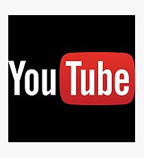 YouTube Full Logo - Red on Black Photographic Print