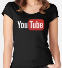 YouTube Full Logo - Red on Black Women's Fitted Scoop T-Shirt