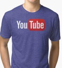 YouTube Full Logo - Red on Black Tri-blend T-Shirt