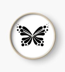 Graphic Butterfly B&W - Shee Vector Shape Clock