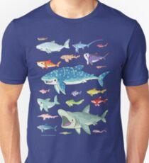 20 Shark Species Size Chart Unisex T-Shirt
