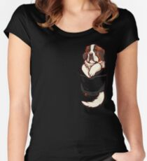 Pocket St Bernard Puppy Women's Fitted Scoop T-Shirt
