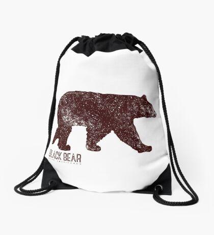 Black Bear Walking Drawstring Bag