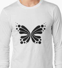 Graphic Butterfly B&W - Shee Vector Shape Long Sleeve T-Shirt