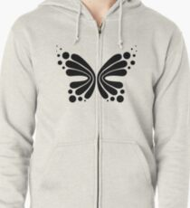 Graphic Butterfly B&W - Shee Vector Shape Zipped Hoodie