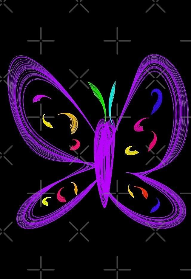 Purple Neon Butterfly by Rimma Tverskoy