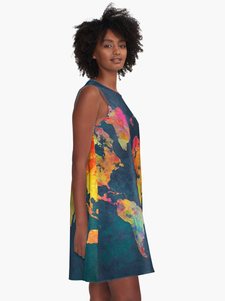 Alternate view of World Map  A-Line Dress