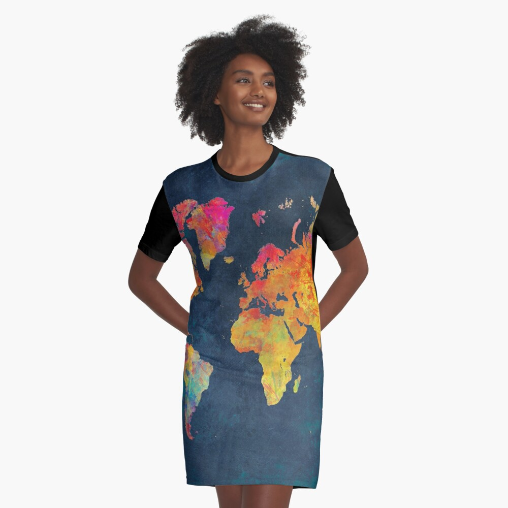 World Map  Graphic T-Shirt Dress