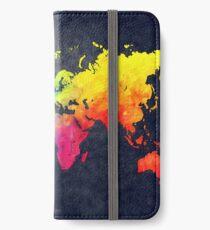 Weltkarte Aquarell 6 iPhone Flip-Case/Hülle/Skin