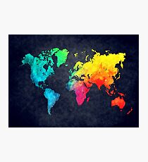 world map watercolor 6 Photographic Print