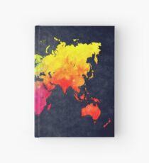 world map watercolor 6 Hardcover Journal