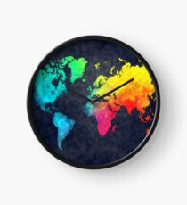 world map watercolor 6 Clock