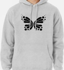 Graphic Butterfly B&W - Shee Vector Pattern Pullover Hoodie