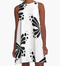 Graphic Butterfly B&W - Shee Vector Pattern A-Line Dress