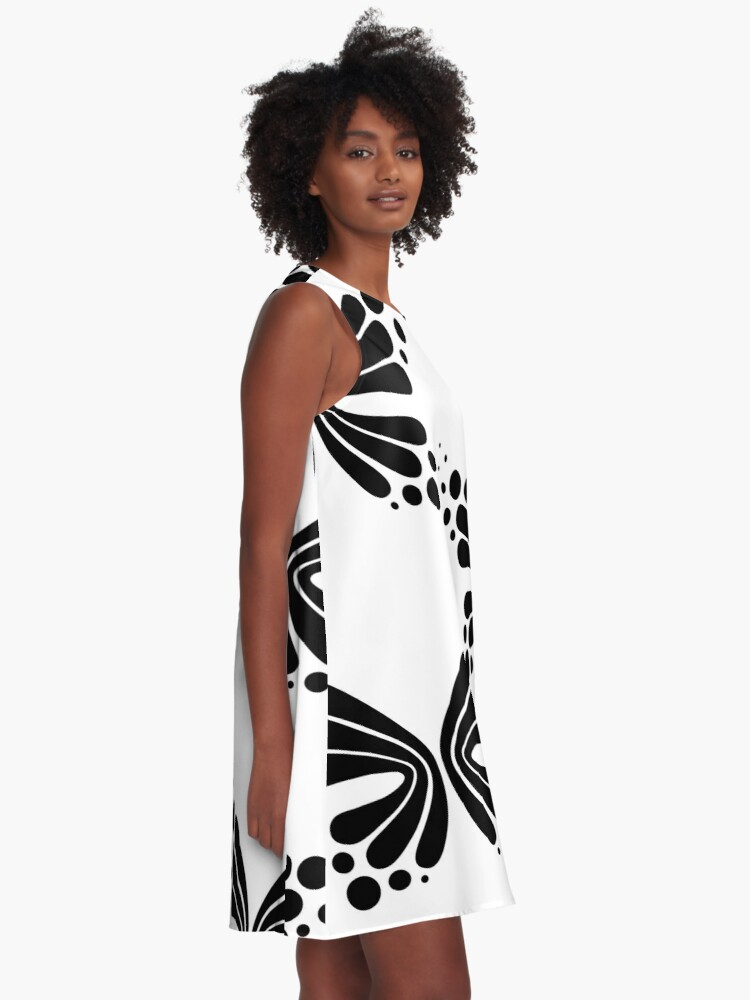 Alternate view of Graphic Butterfly B&W - Shee Vector Pattern A-Line Dress