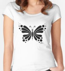 Hypnotic Butterfly B&W - Shee Vector Shape Women's Fitted Scoop T-Shirt