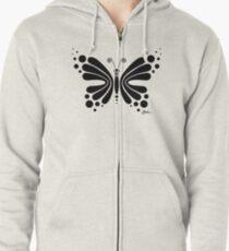 Hypnotic Butterfly B&W - Shee Vector Shape Zipped Hoodie