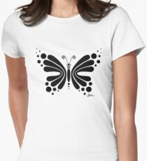 Hypnotic Butterfly B&W - Shee Vector Shape Women's Fitted T-Shirt